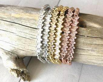 Scattered Baguette Cubic Zirconia Crystals, 4mm Gold, Rose Gold or Platinum Plated Metal Bead Ball Bracelets, Stretch Stack Bracelet, Women