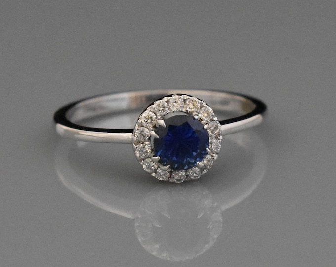 18K White Gold Blue Sapphire & Diamond Ring   Engagement Ring   Wedding Ring   Anniversary Ring   Handmade Fine Jewelry   Diamond Halo