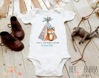 Pregnancy Announcement Onesie®, Fox Boho Onesie, Tee Pee, Newest Tribe Member Onesie, Boho Baby Clothes, Baby Bodysuit, Bee & Bubba, TeePee
