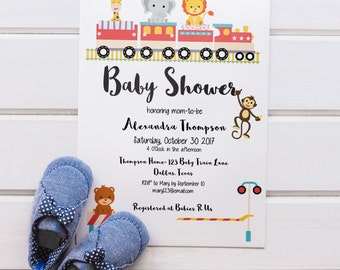 Baby Shower Invitation, Animal Baby Shower Invitation, Gender Neutral Baby Shower Invitation, Train Baby Shower Invitation