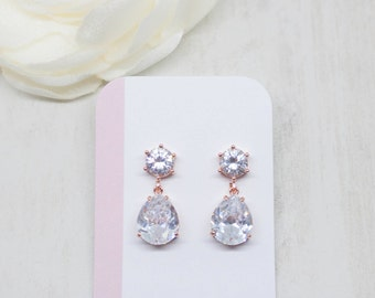 Earrings rose gold Bridal jewelry wedding jewelry crystals