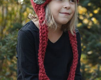 Toddler/Kids Rustic Winter Hat with Pom Pom, Long Ties and Flowers