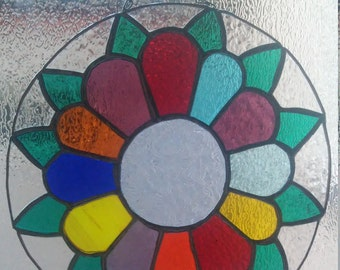 Rainbow Flower Stained glass, Porthole Suncatcher, Daisy