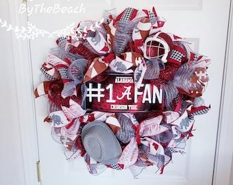 Alabama wreath - Alabama Crimson Tide wreath - Alabama mesh wreath - Alabama gift - Deco mesh wreath - Fall wreath - Roll tide wreath