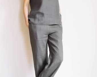 Grey pajama pants / Linen pajama pants / Linen loungewear / Linen pajama set