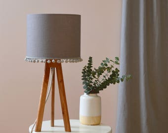 Grey Pom Pom Drum Lampshade - handmade lampshade - home decor - fabric lampshade - decor lighting - plain lampshade - table lamp