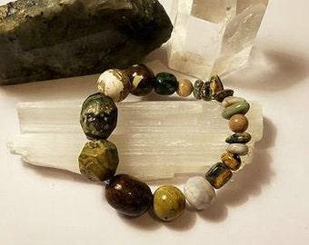 Jasper & Agate Crystal Stretch Bracelet small medium