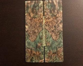 Green Box Elder Burl Wood Blank Set for 1911 Grips