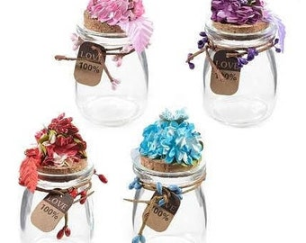 Favour jars with flowers