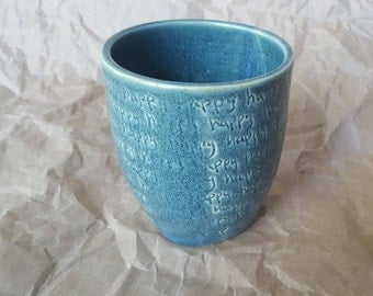 """Inscribed Ceramic Tumbler """"happy"""""""