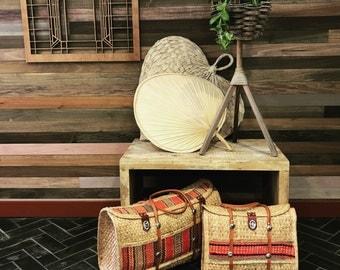 Mexican Woven Bags // Set of Vintage Woven Totes // Bohemian Handbags