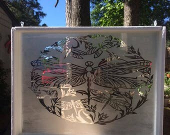 8x11 Etched Glass Dragonfly Shadow Box