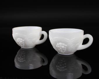 L.E. Smith Milk Glass Punch Cups Set of 2 Vintage