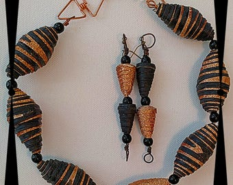 Original Design Handmade Black and Bronze Paper and Wire Necklace and Earrings
