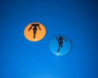 "METROID Set of Super Smash Bros Hero Icons 1"" Pin Badge Pinback Button Rainbow Silhouettes Zero Suit Samus Aran"
