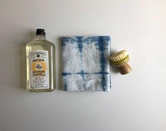 Hand-dyed Indigo Dish Towel; Tie Dye Dish Towel; Unique Dish Towel