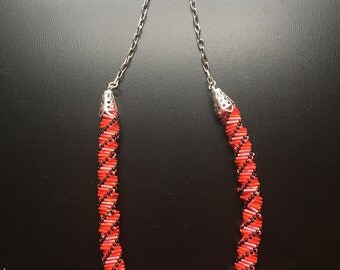 Red and Black Russian Spiral Bead Necklace