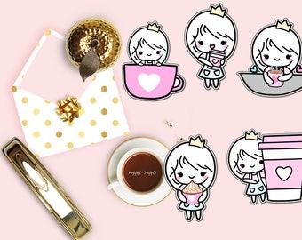 Coffee Queen Die Cut, Coffee Planner Die Cut, I Love Coffee Die Cut, Cute Girl Die Cuts, Scrapbook Accessory, Planner Accessories