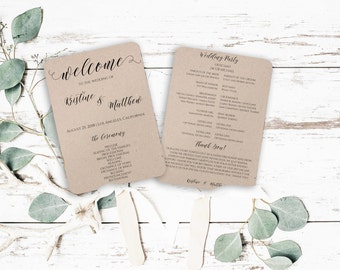 Wedding Program Fan, Wedding Programs, Program Fan Template, DIY Wedding Program, Wedding Calligraphy, Kraft Paper, Wedding Invitation, 0022