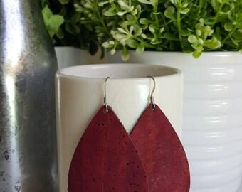 BURGUNDY Cork Leather Earrings | Faux Leather Earrings| Vegan Lightweight Earrings | Vegan Leather Tear Drop Earrings | Portugese Cork