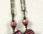 SALE << Freundschafts-Herz - Halsketten, Praline, pink, rosa, Schoko, Geschenk, Unikat, handgemacht, bronze, Polarisperle