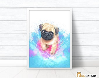Pug Puppy Print - positive vibes cute office décor, cute pug print bestfriend gift, good vibes pug gifts for her, pug print cubicle décor