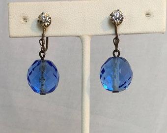 Blue Austrian Crystal Bead Earrings, Clear Rhinestones, Dangle, Screwback, Vintage, 1960s