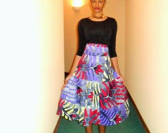MIDI skirt high waist wax (Ankara)