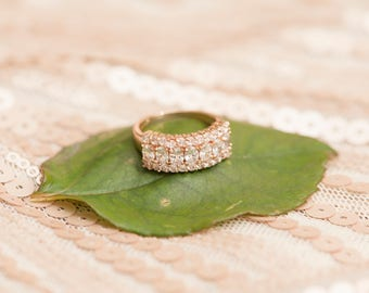 Rose Gold Engagement Wedding Promise Ring Cubic Zirconia CZ Vintage V1001RG