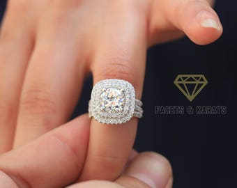18k White Gold Halo Set Engagement Ring With Double Half Eternity Wedding Bands Round