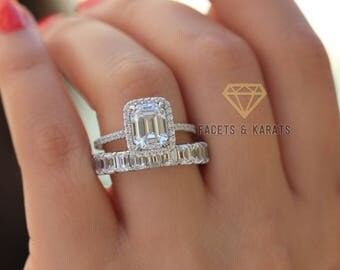 Emerald Cut Engagement Ring Wedding Band Bridal Wedding Ring Set Made In  Solid 14k White Gold