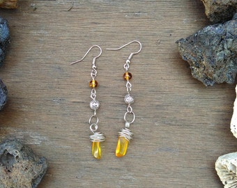 silver plated copper wire and amber earrings