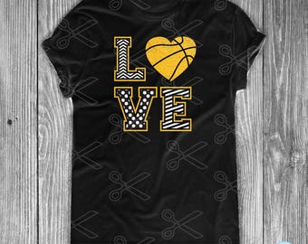 Love Basketball SVG, PNG, DXF, Eps Cutting Files, Basketball Svg Files, Love Svg, Sports Svg files, Basketball Clipart, Basketball Vector