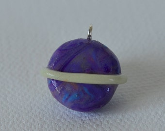 Purple Saturn with Glow in the Dark Ring Polymer Clay Chibi Charm, Polymer Clay, Charm, Planet, Saturn