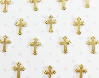 Small Cross Embellishments | Gold Cross Charm - 10pcs