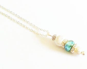 "Necklace pendant, ""elegant blue-green and transparent"""