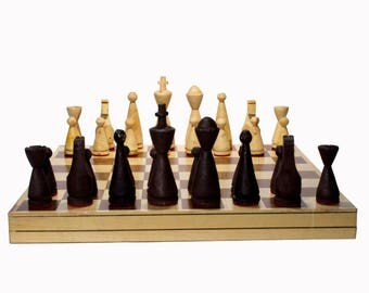 "Handmade Chess. Model ""Dinamo"". Foldable Board: 45 x 45 cm"