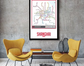 Shanghai City Subway Map Wall Art Decor