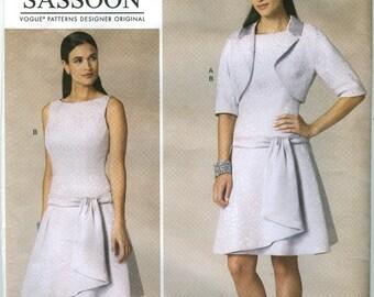 V1485 Vogue - Sassoon - Misses Drop Waist Dress with princess seams & drape - NEW Sewing pattern Sz. A5 6-8-10-12-14 or E5 14-16-18-20-22