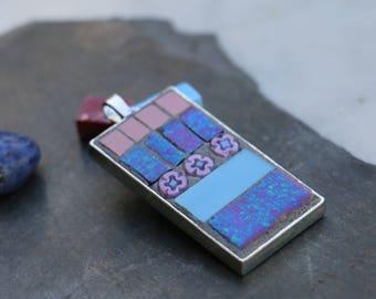 Mosaic millefiori glass and stoneware pendant