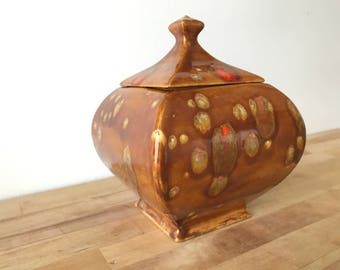 Vintage Drip Glaze Ceramic Container