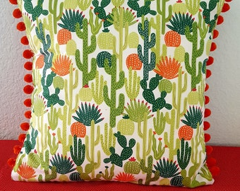 Succulent Garden luxury pillow cover with pom-pom trim