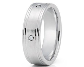 White Gold Wedding Band Men & Women White Diamond Ring 14k Brush Whit Gold Ring Groove Design Anniversary Ring