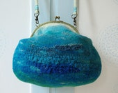 Turquoise, sea evening bag, turquoise purse, Felted bags, Slouch bag, Felted purse, Hobo bags for women, turquoise accessory, Nunofelting