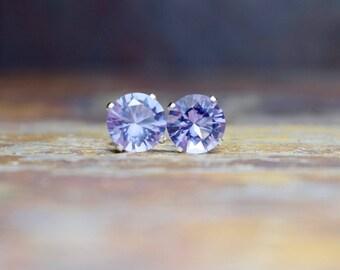 Pink Amethyst Stud Earrings, 6mm Sterling Silver Studs, Amethyst Earrings, Brazilian Amethyst Gemstone Earrings, Gift for Wife, Jewellery UK