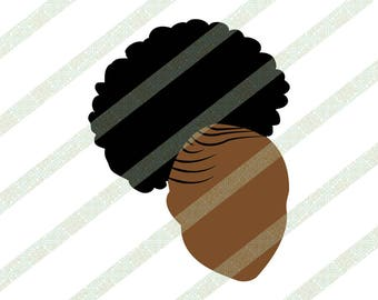 Cornrows Afro Puff SVG, PNG, JPEG Clipart Silhouette Black Woman With Natural Kinky Hair, Ethnic Art, Digital Download