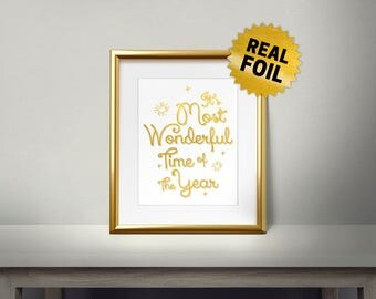 It's Most Wonderful Time of The Year, Real Gold Foil Print, Merry Christmas, Gold Wall Art, Christmas Decor, Holiday Decoration, New Year