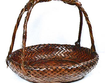Vintage Japanese Ikebana Bamboo Basket – Flower Arrangement Basket – Vintage Bamboo Handwoven Basket – Tea Party, Home Décor – Centerpiece