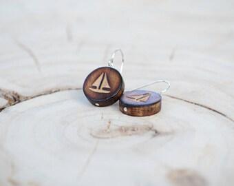 Boucles d'oreilles Ronde Bois Récupéré et Argent - Bateau