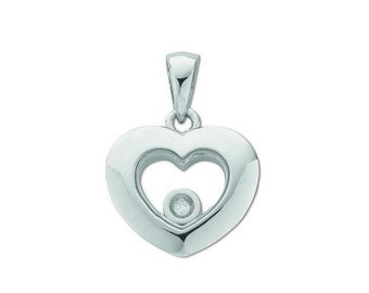 9ct White Gold Floating Solitaire Diamond Heart Shaped Pendant